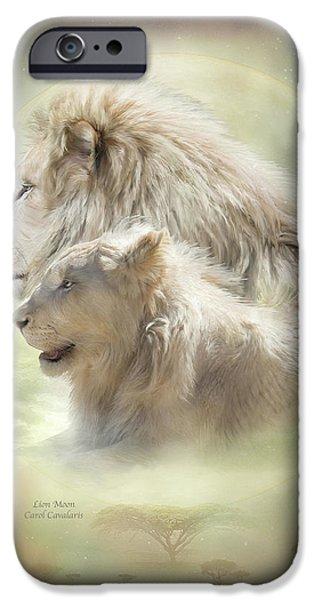 Lion Moon iPhone Case by Carol Cavalaris