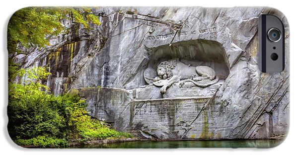 Stone Carving iPhone Cases - Lion of Lucerne iPhone Case by Carol Japp