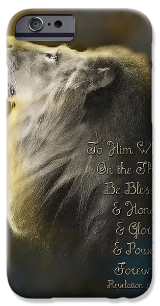 Christian Artwork Digital Art iPhone Cases - Lion On The Throne in Aqua iPhone Case by Constance Woods