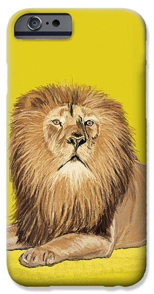 Lion painting iPhone Case by Setsiri Silapasuwanchai