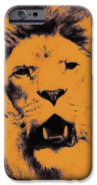 Lion Pop Art iPhone Case by Angela Doelling AD DESIGN Photo and PhotoArt