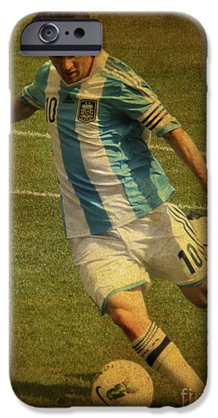 Celebrities Photographs iPhone Cases - Lionel Andres Messi Argentine Footballer FC Barcelona  iPhone Case by Lee Dos Santos