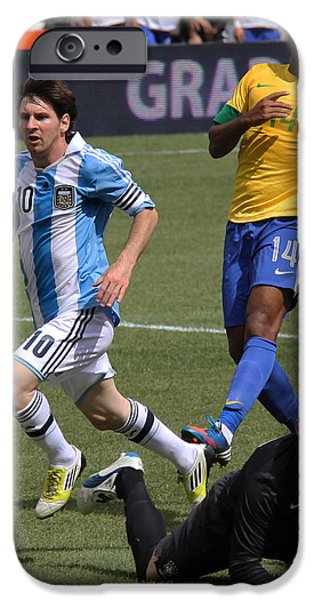 Clash Of Worlds iPhone Cases - Lionel Messi Beats Rafael Cabral iPhone Case by Lee Dos Santos