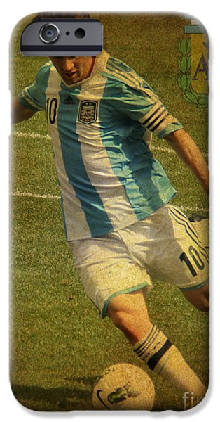 Clash Of Worlds iPhone Cases - Lionel Messi Kicking IV iPhone Case by Lee Dos Santos