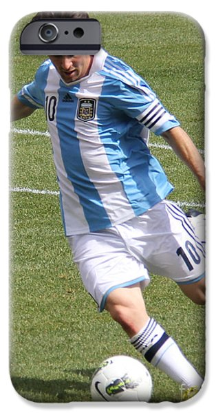 Clash Of Worlds iPhone Cases - Lionel Messi Kicking iPhone Case by Lee Dos Santos