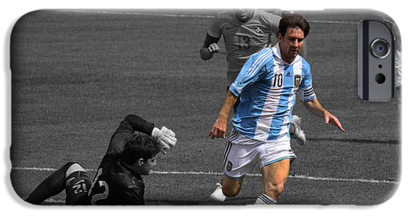 Celebrities Photographs iPhone Cases - Lionel Messi the King iPhone Case by Lee Dos Santos
