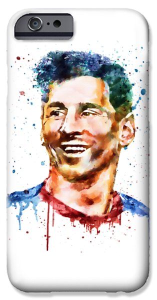Marian iPhone Cases - Lionel Messi watercolor portrait iPhone Case by Marian Voicu