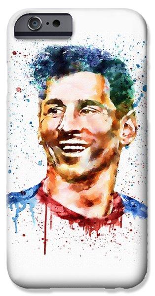 Watercolour Portrait iPhone Cases - Lionel Messi watercolor portrait iPhone Case by Marian Voicu