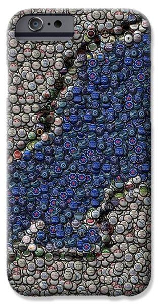 Lions Bottle Cap Mosaic iPhone Case by Paul Van Scott