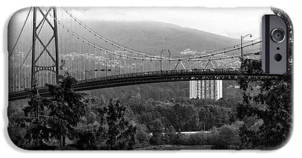 Burrard Inlet iPhone Cases - Lions Gate Bridge mono iPhone Case by John Rizzuto