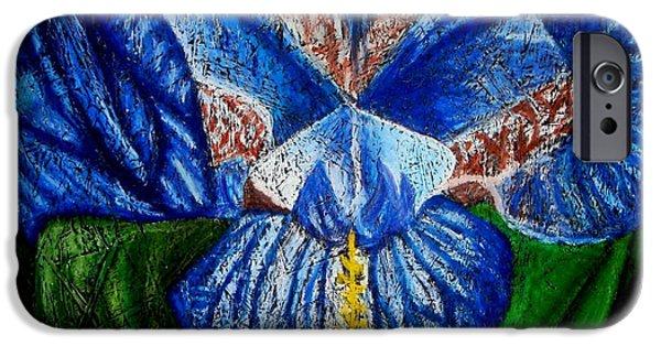 Botanical Pastels iPhone Cases - Lirio Azul iPhone Case by Karla Kernz