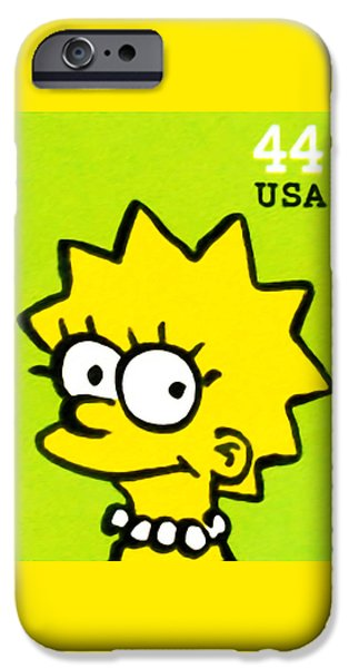Canadian Culture Paintings iPhone Cases - Lisa Simpson iPhone Case by Lanjee Chee