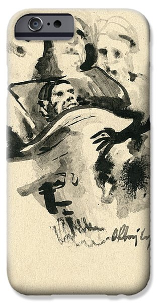 Sepia Ink Drawings iPhone Cases - Lit de mort iPhone Case by Taylan Soyturk