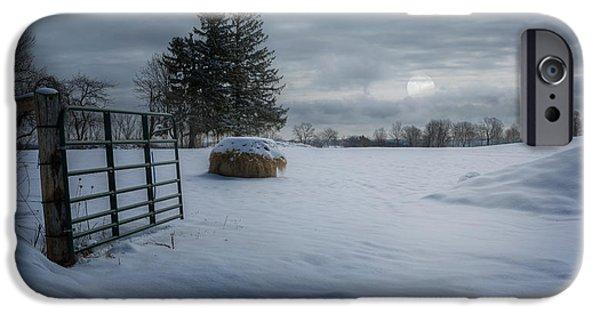 Moonlit Night Photographs iPhone Cases - Litchfield Connecticut Moonlit Winter Pasture iPhone Case by Bill Wakeley