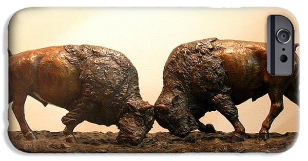 Office Sculptures iPhone Cases - Litigation  Bronze sculpture of two American Bison Bulls Fighting iPhone Case by Kim Corpany