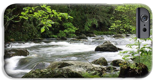 Smokey Mountains iPhone Cases - Litltle River 1 iPhone Case by Marty Koch