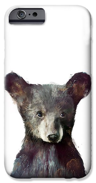 Little Mixed Media iPhone Cases - Little Bear iPhone Case by Amy Hamilton