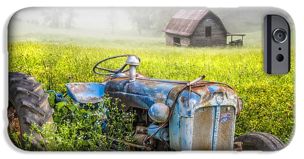 Antiques iPhone Cases - Little Blue Tractor iPhone Case by Debra and Dave Vanderlaan