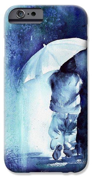 Raining iPhone Cases - Little Boy Blue iPhone Case by Bette Orr