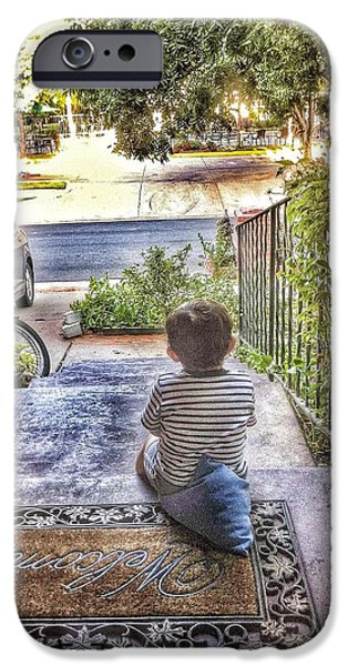 Thinking iPhone Cases - Little Boy Waiting  iPhone Case by Buck Buchanan