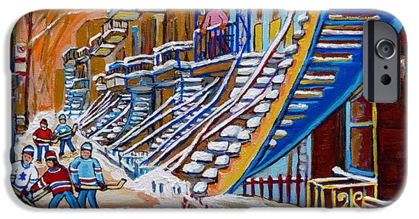 Hockey Paintings iPhone Cases - Little Canadian Boys Play Street Hockey Near Winding Yellow Staircase Montreal Winter Scene Art iPhone Case by Carole Spandau