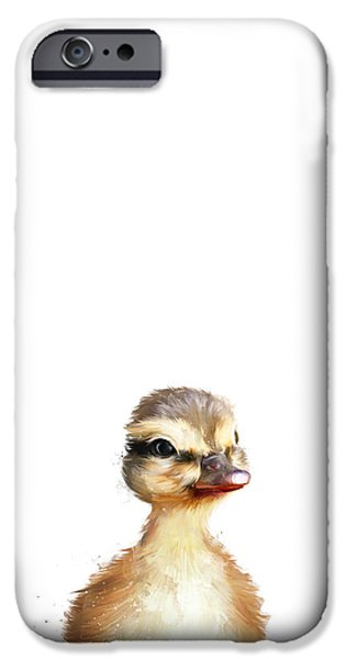 Little Mixed Media iPhone Cases - Little Duck iPhone Case by Amy Hamilton
