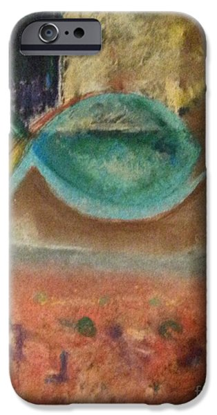 Abstract Expressionism iPhone Cases - little fish Big Pond iPhone Case by Patty Mowatt