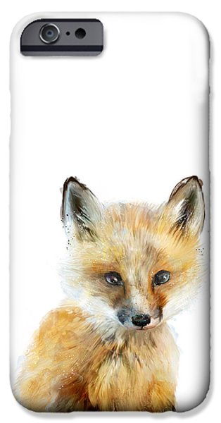 Little Mixed Media iPhone Cases - Little Fox iPhone Case by Amy Hamilton