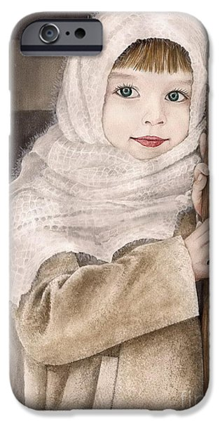 Little Girl iPhone Cases - Little Girl iPhone Case by Alber Assi
