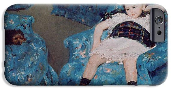 Socks iPhone Cases - Little Girl in a Blue Armchair iPhone Case by Mary Stevenson Cassatt
