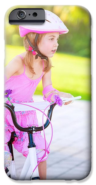 Racing iPhone Cases - Little girl on bicycle  iPhone Case by Anna Omelchenko