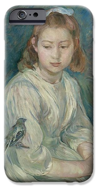 Berthe Paintings iPhone Cases - Little girl with bird iPhone Case by Celestial Images