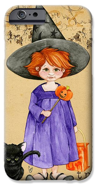 Halloween iPhone Cases - Little Halloween Witch iPhone Case by Cindy Garber Iverson
