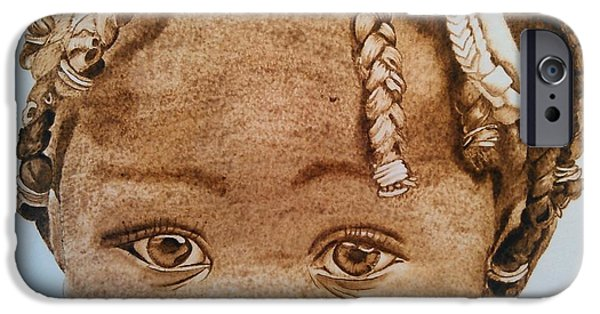African-americans Pyrography iPhone Cases - Little Kisha iPhone Case by Marsha Wilson