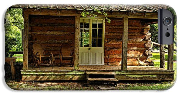 Cabin Window iPhone Cases - Little Log Cabin iPhone Case by Judy Vincent