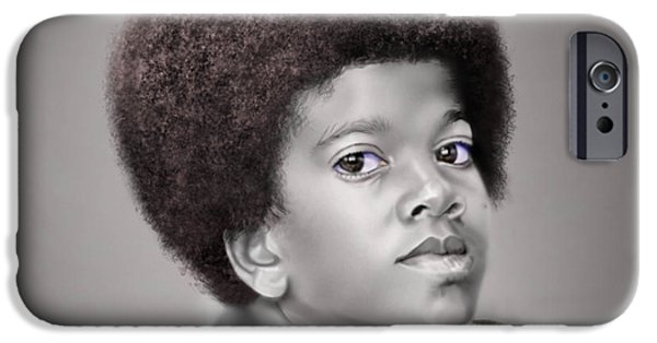 Michael Jackson Paintings iPhone Cases - Little Michael iPhone Case by Reggie Duffie