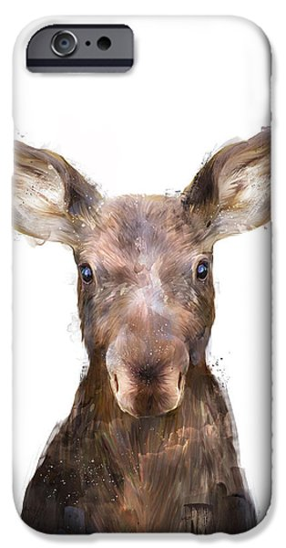 Little Mixed Media iPhone Cases - Little Moose iPhone Case by Amy Hamilton