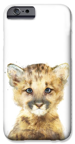 Little Mixed Media iPhone Cases - Little Mountain Lion iPhone Case by Amy Hamilton