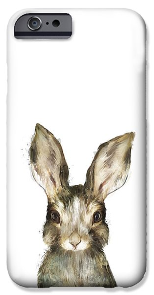 Little Mixed Media iPhone Cases - Little Rabbit iPhone Case by Amy Hamilton