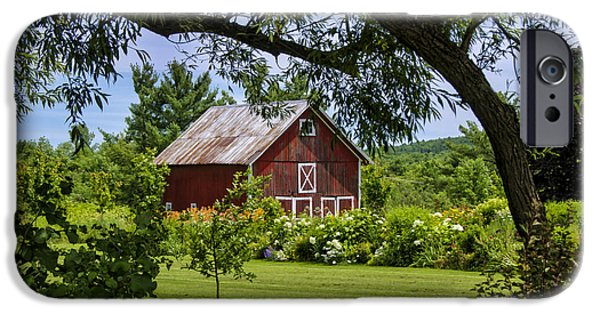 Old Barns iPhone Cases - Little Red Barn iPhone Case by Donna Doherty