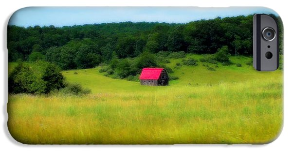 Pastureland iPhone Cases - Little Red Barn iPhone Case by Karen Wiles