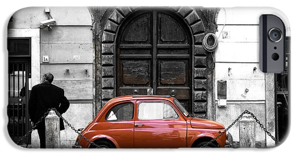 Old Cars iPhone Cases - Little Red in Roma Fusion iPhone Case by John Rizzuto
