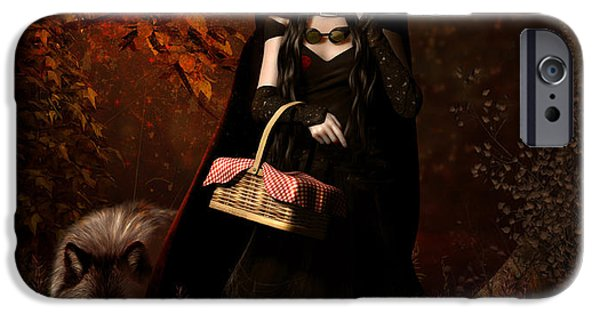 Little iPhone Cases - Little Red Riding Hood Gothic iPhone Case by Shanina Conway