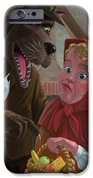 Nursery Rhyme iPhone Cases - Little Red Riding Hood With Nasty Wolf iPhone Case by Martin Davey