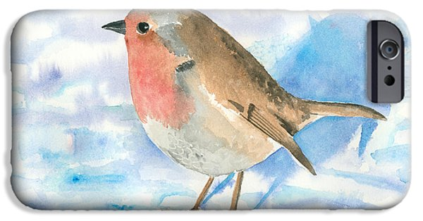 Robin iPhone Cases - Little Robin iPhone Case by Arline Wagner