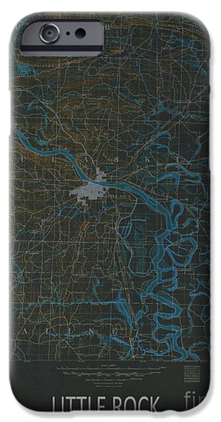 Arkansas Mixed Media iPhone Cases - Little Rock 1891 Map iPhone Case by Pablo Franchi