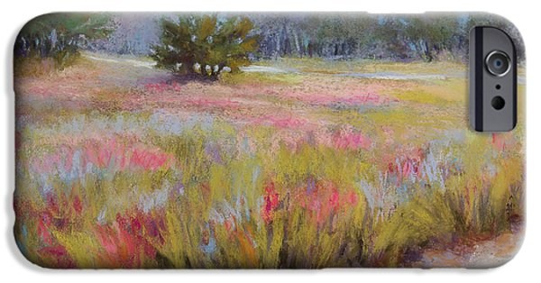 Morning Pastels iPhone Cases - Little Tree Road iPhone Case by Susan Jenkins