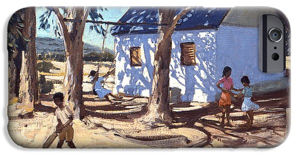 Swing Paintings iPhone Cases - Little white house Karoo South Africa iPhone Case by Andrew Macara