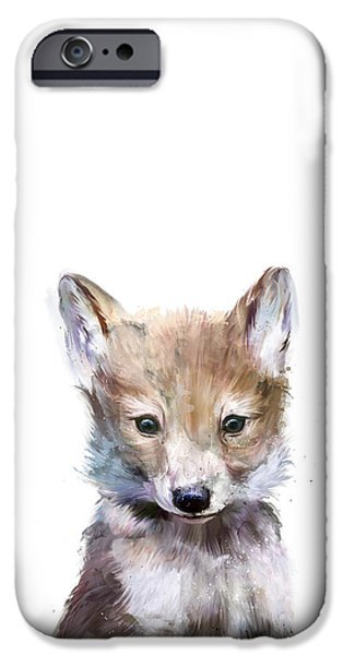 Little Mixed Media iPhone Cases - Little Wolf iPhone Case by Amy Hamilton