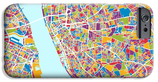 Retro Abstract iPhone Cases - Liverpool England City Street Map iPhone Case by Michael Tompsett